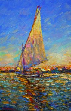 """Alomg the Nile"" - by  Sergej Ovcharuk ~ Oil (painting with pallet knife - high…"