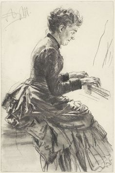 "The Athenaeum - Woman Playing the Piano, Study for ""Matinée"" 1884. (Adolph von Menzel - )"