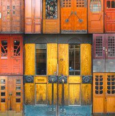 Doors of Turku (Finland)--postcard