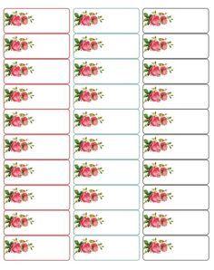 d'adorables étiquettes ornées de roses...