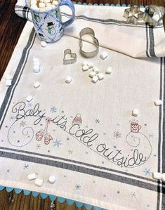 Baby it's Cold Outside Dishtowel -Hand Embroidery PATTERN - BR250