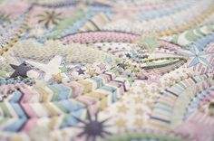 Liberty of London, ('My Little Stars'), quilting along the pattern