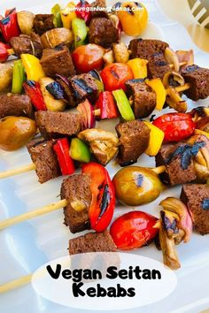 These vegan kebabs are colorful, delicious and a perfect vegan grilling option. Make the seitan kebabs with our homemade seitan recipe, or use storebought seitan. Bring them to your next vegan bbq or cookout, or just have them for nice vegan summer dinner! | Vegan Recipes | Plant Based | Vegetarian | High Protein | Beef Seitan Recipe | #yumvegan #vegan #seitan #bbq #grilling #vegankebabs #vegetarian Homemade Seitan Recipe, Seitan Recipes, Vegan Beef, Kebab Recipes, Vegetarian, Vegan Bbq Recipes, Vegan Recipes Plant Based, High Protein Vegan Recipes, Vegan Recipes