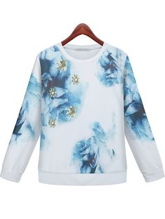 White Long Sleeve Floral Loose Sweatshirt 28.33