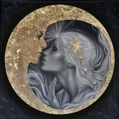 Moon Kiss Art Print by Childlike Archetype - X-Small Sun Moon, Stars And Moon, Moon Phases, Kiss Art, Arte Sketchbook, Art Et Illustration, Beautiful Moon, Moon Goddess, Goddess Art