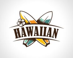 Hawaiian Logo design - This brand is suitable for few business sectors from surf… Surf Logo, Beach Logo, Hawaiian Designs, Hawaiian Art, Hawaii Logo, Retro Surf, Logo Design, Branding Design, Retro Design