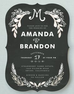 Gorgeous invitations - love the chalkboard feel and the fonts! Chalkboard Invitation, Chalkboard Wedding, Invitation Cards, Invites, Vintage Invitations, Invitation Suite, Invitation Design, Wedding Reception Invitation Wording, Wedding Stationary