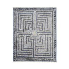 Luke Irwin, Taormina Gate Mosaic Hand Knotted Rug, 9x12', Peacoat