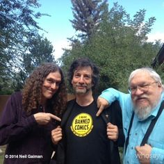 "Neil Gaiman, George R.R. Martin and ""Weird Al"" Yankovic Read Banned Comics. Author Neil Gaiman uploaded this picture with the comment ""Do we all know what week it is? Weird Al and George do. #BannedBooksWeek"" onto Google+ recently"