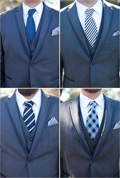 I like this tie pattern mixture for the groomsmen. They would not have jackets though, either a mixture of vests and suspenders (in shades of grey).