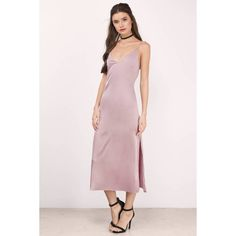 Tobi Nadine Satin Cami Midi Dress ($54) ❤ liked on Polyvore featuring dresses, mauve, midi dress, calf length dresses, pink camisole, mid calf dresses and pink dress