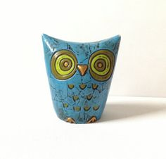 Fitz and Floyd Owl Piggy Bank - Paper Mache Owl - Funky 70s Decor
