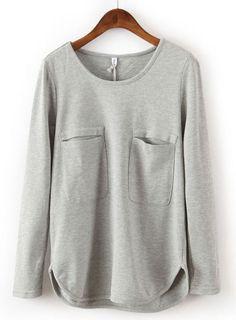 Grey Long Sleeve Double Pockets Blouse - Sheinside.com