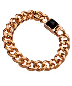 Jules Smith Rose Gold and Black Hard Rock Life Chain Bracelet