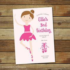 Items similar to ballerina birthday party invitation, ballet birthday party, printable ballet invitation on Etsy Ballerina Birthday Parties, Ballerina Party, Baby Birthday, Party Themes, Party Ideas, Birthday Party Invitations, Kc Ballet, Ballet Cakes, Birthdays
