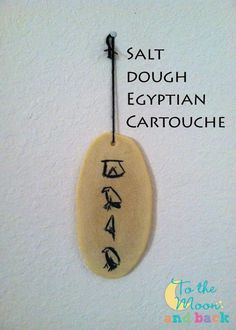 Salt Dough Egyptian Cartouche I have a daughter and we're trekking on through our first year schooling at home. I chose to use Story of the World for the basis of our history lessons, and I'm super stoked to be doing little Egyptian crafts with Ancient Egypt Crafts, Egyptian Crafts, Ancient Egyptian Art, Ancient History, Ancient Egypt Lessons, Ancient Egypt Activities, Egyptian Party, Ancient Egypt Art For Kids, Egyptian Bread