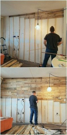 Wonderful Ideas Made with Recycled Wood Pallets - - Basteln -You can find Pallets and more on our website.Wonderful Ideas Made with Recycled Wood Pallets - - Basteln - Diy Pallet Wall, Pallet Walls, Diy Pallet Projects, Pallet Furniture, Diy Wood Wall, Pallet Wall Bedroom, Wood Walls, Plank Walls, Pallet Crafts