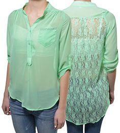 68a4c0b637b3f Penelope Sheer Lace Back High Low Chiffon Shirt Layering Blouse Roll Tab  Pastels