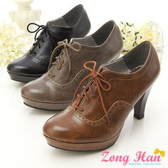 Women's Oxford Stylish Lace Up High Heels Beige in Brown Cocoa & Black Free S