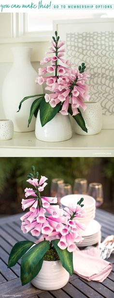 Create These Beautiful Crepe Paper Foxglove Flowers! Colour Paper Flowers, Tissue Paper Flowers, Felt Flowers, Diy Flowers, Paper Roses, Flower Ideas, Homemade Crafts, Diy Crafts, Design Crafts