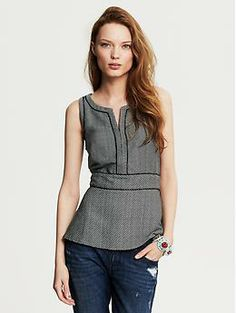 Textured Fit-and-Flare Top | Banana Republic (Perfect w/ a little black cardigan - maedchen)