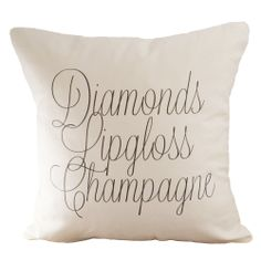 Diamonds Lipgloss Champagne Pillow Cover --- perfect for my room! Pillow Fight, Pillow Talk, Woman Cave, Girl Cave, Beauty Room, My New Room, My Dream Home, Decoration, Home Accessories