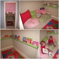 Playroom ideas with reading nook. Have to make sure and do neutral colors so the boys will read lol