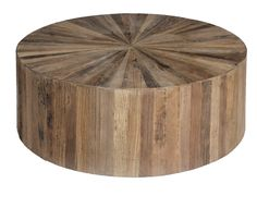 The circular Cyrano coffee table is inlaid with triangular offset pieces of recycled reclaimed elm wood. Simple in form but bold in design, the table is slightly elevated off the floor for added mobility and finished with a water based sealer. Circular Coffee Table, Drum Coffee Table, Round Wood Coffee Table, Reclaimed Wood Coffee Table, Rustic Coffee Tables, Cool Coffee Tables, Wood Table, Drum Table, Natural Wood Coffee Table