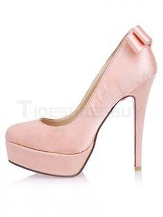 Sweet Pink Bow Spike Heel Satin Woman's High Heels