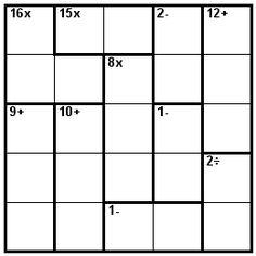 Number Logic Puzzles: 21293 - Kenken size 5