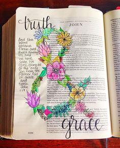 Bible Journaling by Grace Veenker /graceveenker/ Faith Bible, My Bible, Bible Scriptures, Bible Quotes, Bible Drawing, Bible Doodling, Scripture Art, Bible Art, Bibel Journal