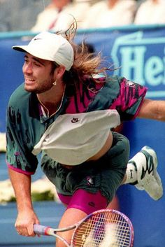 7efbf8ce0d Eighth seed Andre Agassi of the U.S. serves to Fra Wimbledon Tennis, Nike  Tennis,