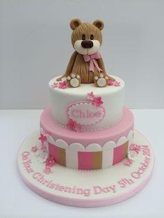 Baby girls christening cake  Teddy