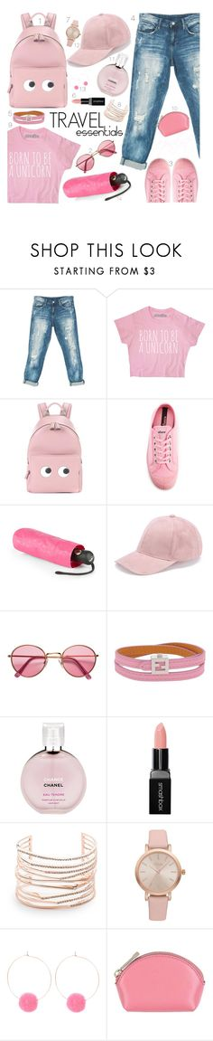"""Pink Set"" by pinkyrachyyy ❤ liked on Polyvore featuring Sans Souci, Anya Hindmarch, Novesta, Kipling, H&M, Fendi, Chanel, Smashbox, Alexis Bittar and Vivani"