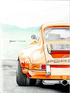 Porsche Singer 911 Color Pencil Print by CCSartistry on Etsy, $15.00