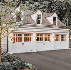 White Garage Doors, Carriage House Garage Doors, Custom Garage Doors, Wood Garage Doors, Carriage Doors, Garage Door Design, Garage Door Windows, Garage Flooring, Front Doors