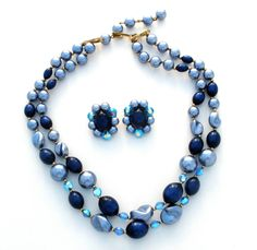 Blue Lucite & Crystal Bead Necklace Earrings Set Multi Strand Rockabilly Vintage  | eBay