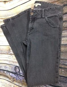 CAbi Boot Cut Jeans # 204 L Gray Black Wash Denim Size 6 Flap Pockets 32 x 33 #CAbi #BootCut