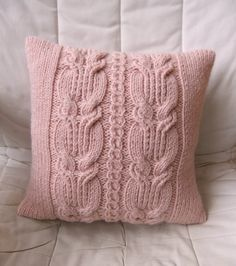 Chunky Pink Cable Knit Pillow / Cushion Cover by Lindyknits, £25.00