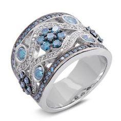#Malakan #Jewelry - Platinum-Silver Treated Blue Diamond Ladies Ring 80514B2 #Fashion #FashionRings #WomensFashion