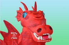 Torta drak 3D, detail hlavy. Cake dragon - head.