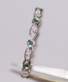 Antique Art Deco Emerald Diamond14K White Gold Full Eternity Band Wedding Ring/emerald/sapphire/emerald/sapphire/rose gold/Morganite ring on Etsy, $199.00