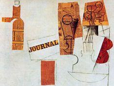 Pablo Picasso - Bottle, glass, violin