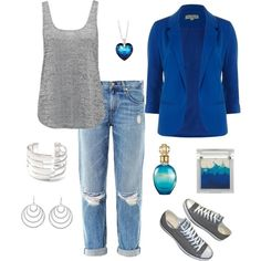 casual all blue outfit