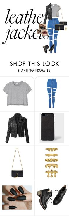 """Leather girl"" by pacman123 ❤ liked on Polyvore featuring beauty, Monki, Topshop, LE3NO, Paul Smith, Yves Saint Laurent, Luv Aj and StreetStyle"
