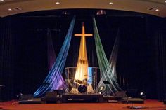 Simple elegant coloured draping - University Covenant Church