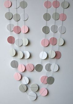 Pink, gray & white paper garland - Pink gray white nursery decor - Girl baby shower, Girl birthday decoration banner, Wedding shower on Etsy, $6.00