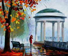 Oil Painting Art Autumn Palette Knife Artwork On Canvas By