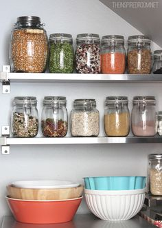 Glass jars for dried goods in the kitchen pantry