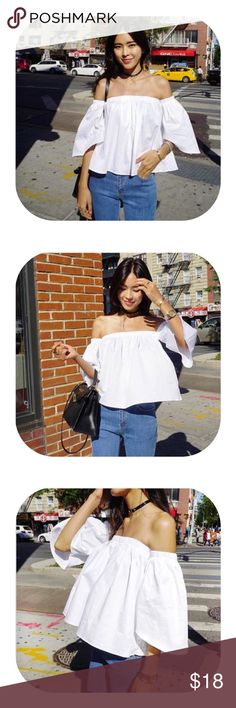 On trend off shoulder white top 100% cotton off shoulder white top. Brand new with tag. Price firm Tops Crop Tops
